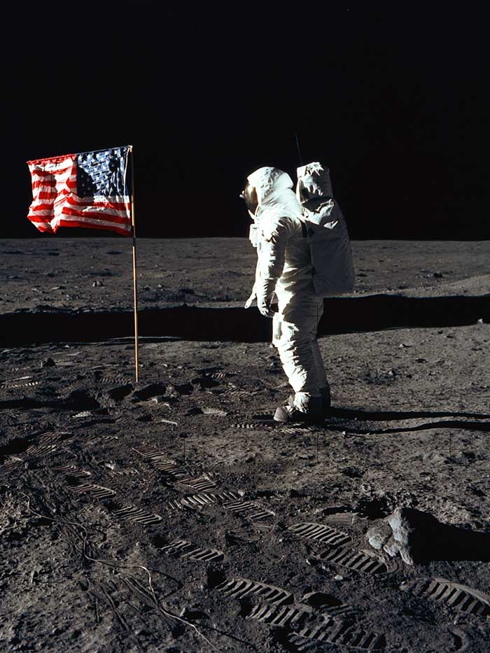Buzz Aldrin plants the flag on the moon during the Apollo 11 mission.