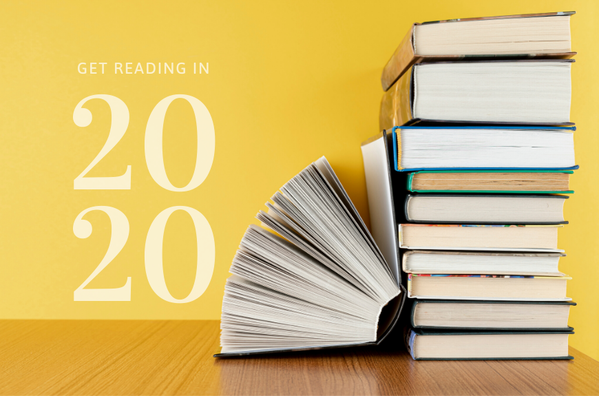 Stack of book with text Get Reading in 2020