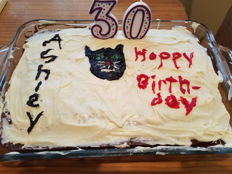 Cake with cat decoration