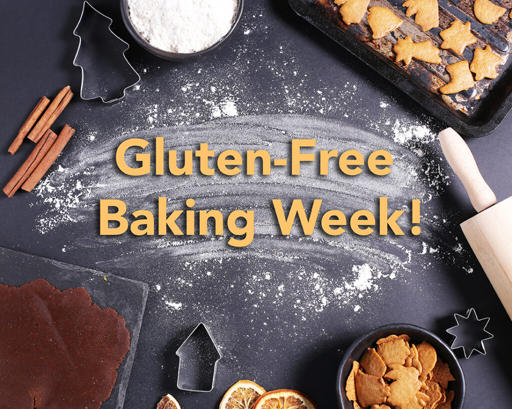 gluten free baking week surrounded by cookies and flour